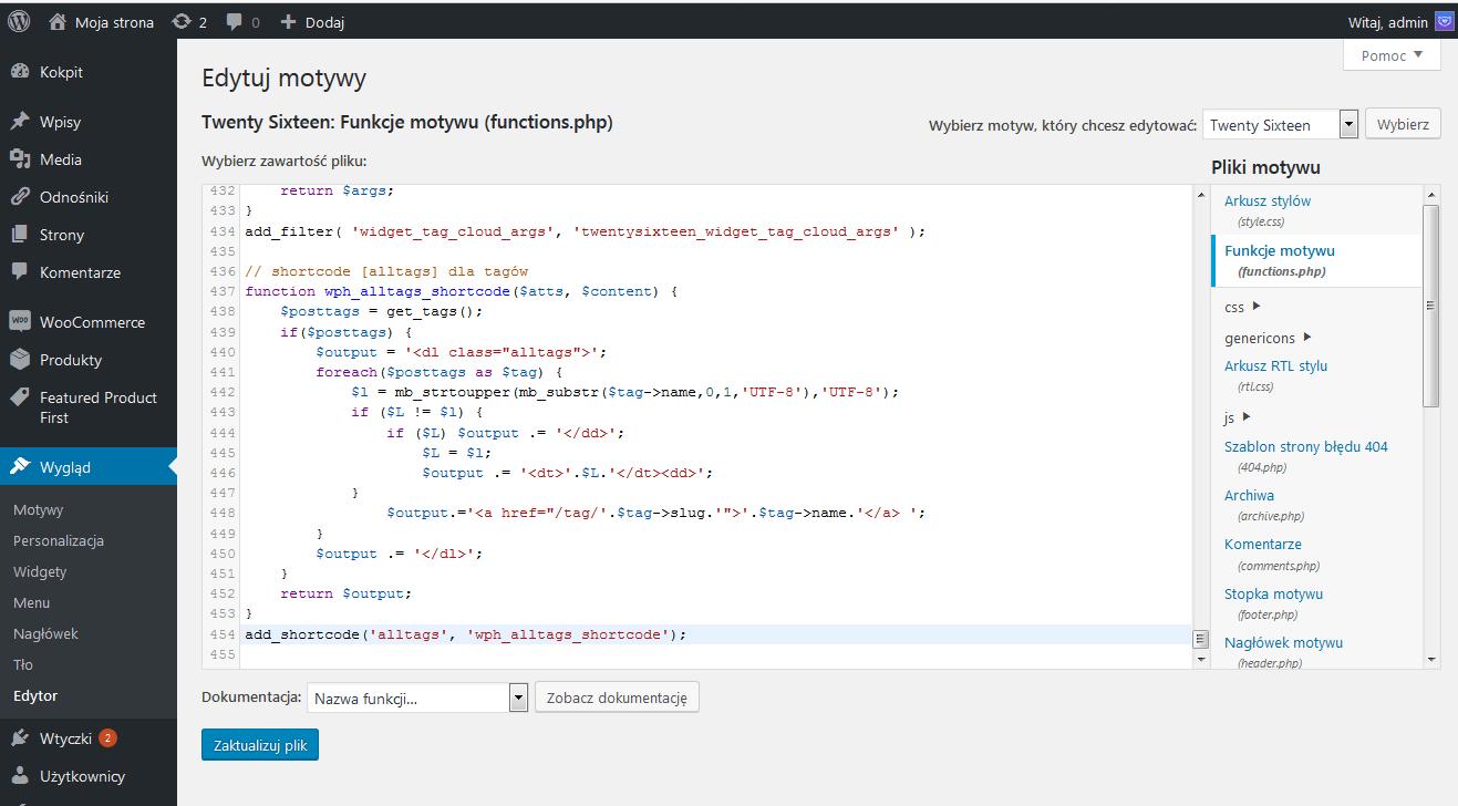 Rysunek 4. Edytowanie pliku functions.php